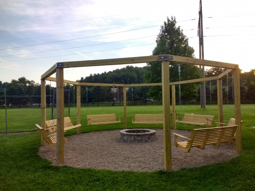 Swings / Fire-pit area. Great for gathering together