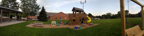 Panorama of Church back of the building