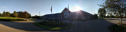 Panorama of Church front of the building